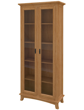 Glasgow Glass Door Bookshelf in Calhoun Maple
