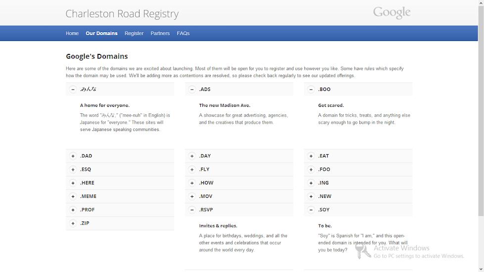 Google CRR Domains