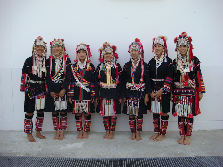 Seven Akha girls in tribal dress