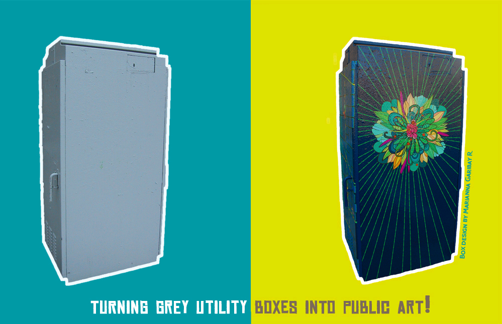 photo of a utility box, before and after decoration