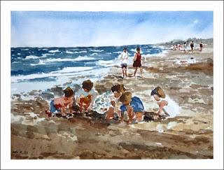 acuarela de unos niños jugando en la playa