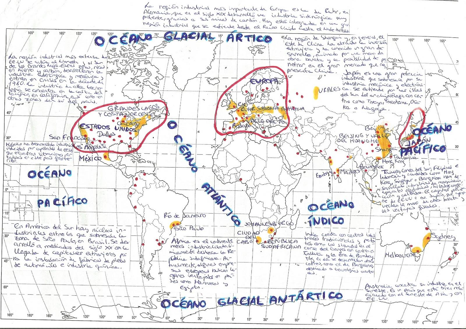 REGIONES INDUSTRIALES. Mapa realizado por Félix Navarro Calvo
