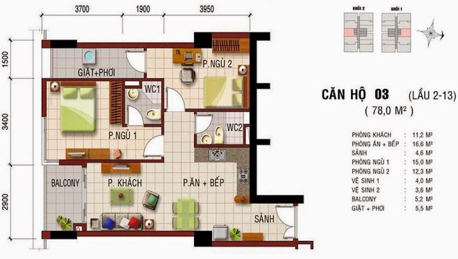 Cho thuê chung cư Khang Gia Tân Hương 2 phòng ngủ