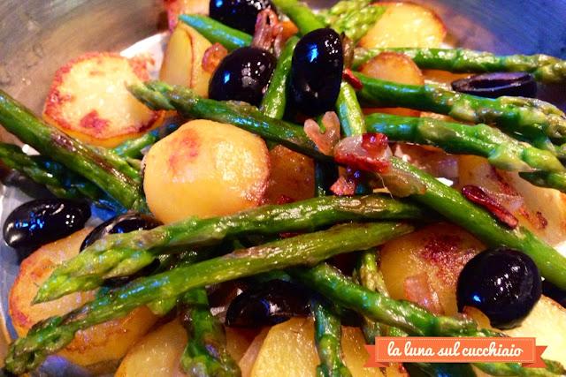 asparagi verdi e patate in padella