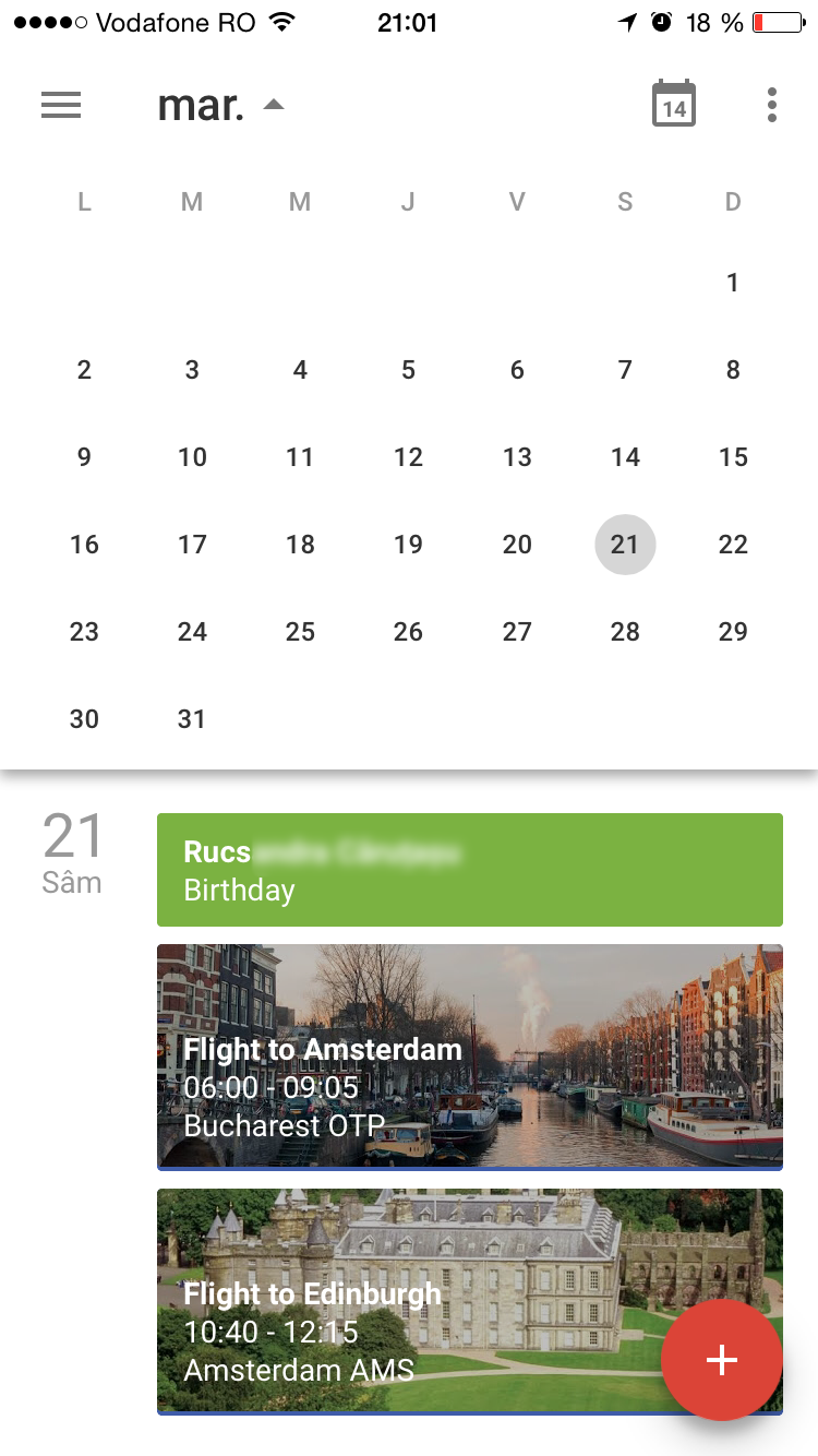 Google Calendar for iOS in schedule view with month