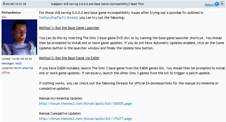 De Sims 3 Gameversie 0.0.0.0.