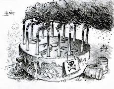 Cartoon: Bayer-Geburtstags-Torte mit Kerzen als qualmende Schlote.