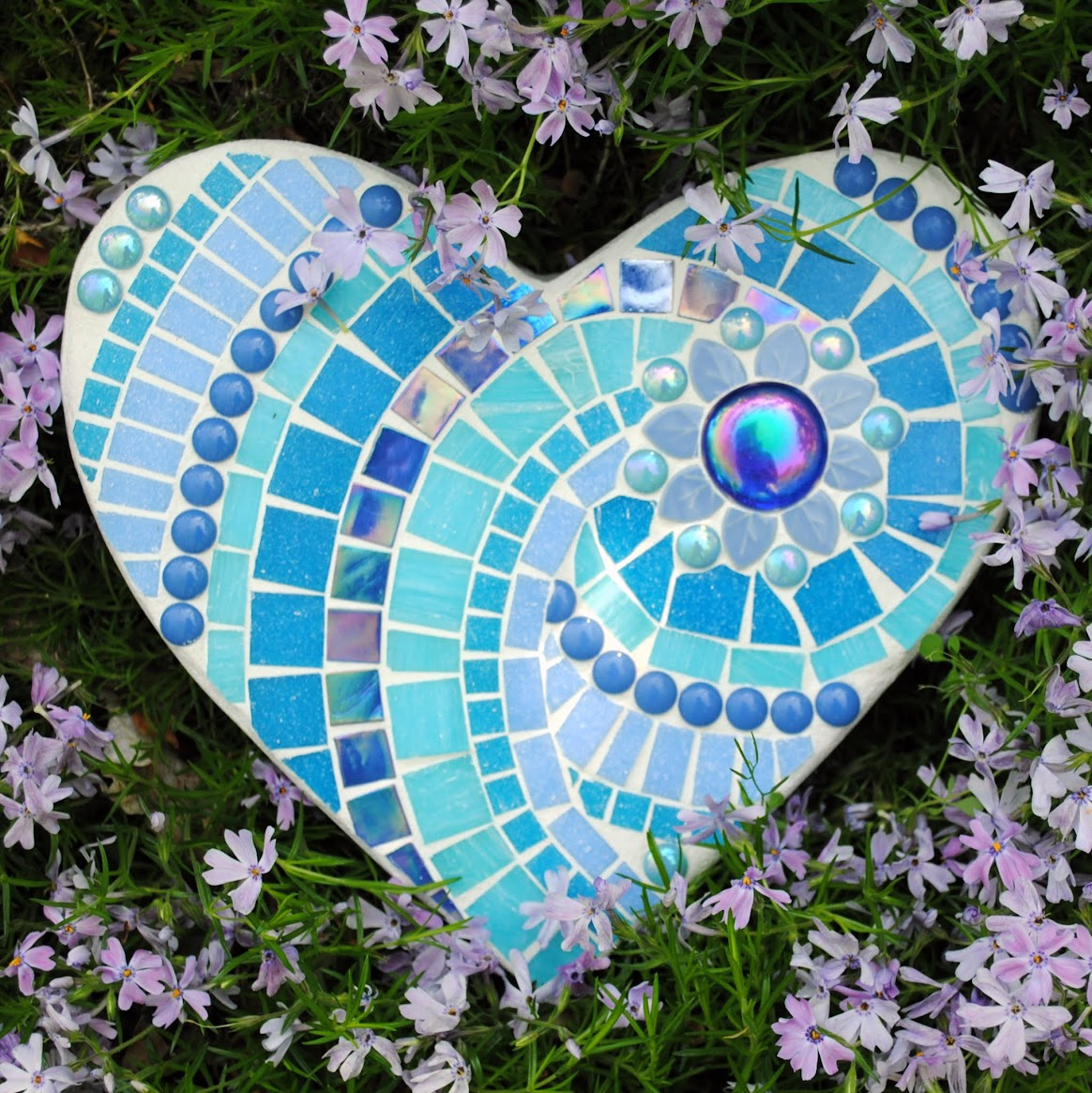 Aegean Sea Mosaic Heart Stepping Stone Moo5051 Beads Pieces