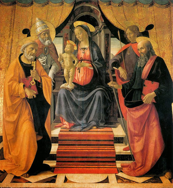 Domenico Ghirlandaio - Madonna and Child enthroned between Angels and Saint