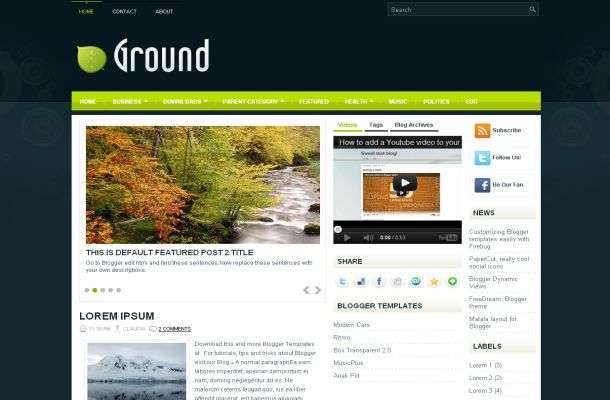 Free Dark Green Fl Blogger Layout Template