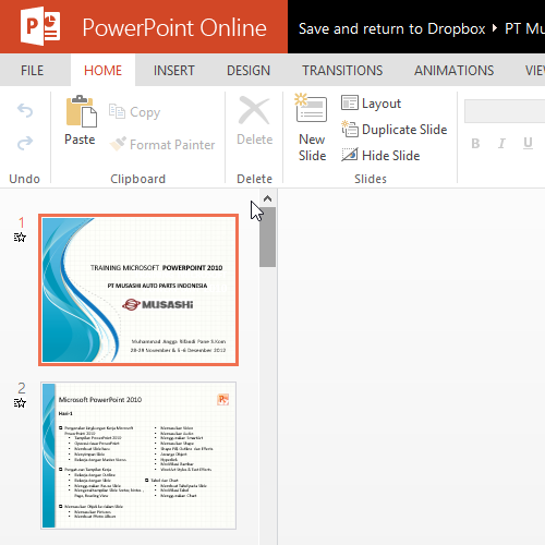Microsoft Office Online with Dropbox