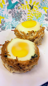Spaghetti Nests, Recipe on Pechluck.Com. Fill with egg and bake, or bake on their own and fill with mozzarella cheese balls or meatballs. Fun for Easter!