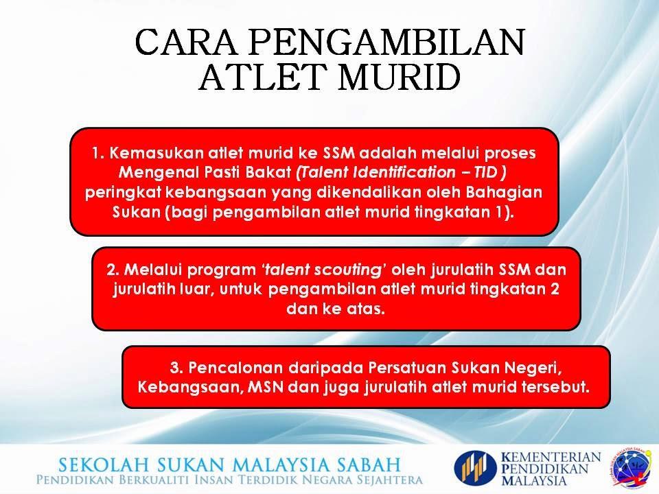 Syarat Pemilihan Atlet Sekolah Sukan Malaysia Sabah