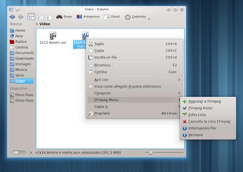 FFmpeg Service Menu in Dolphin su KDE