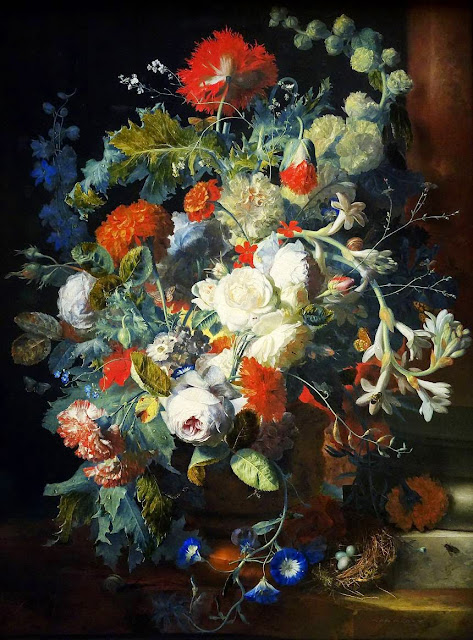 Jan van Huysum - Flower Bouquet Next to a Column