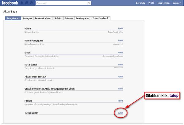 Cara Menuntup Akun Facebook, Cara Menonaktifkan Akun Facebook