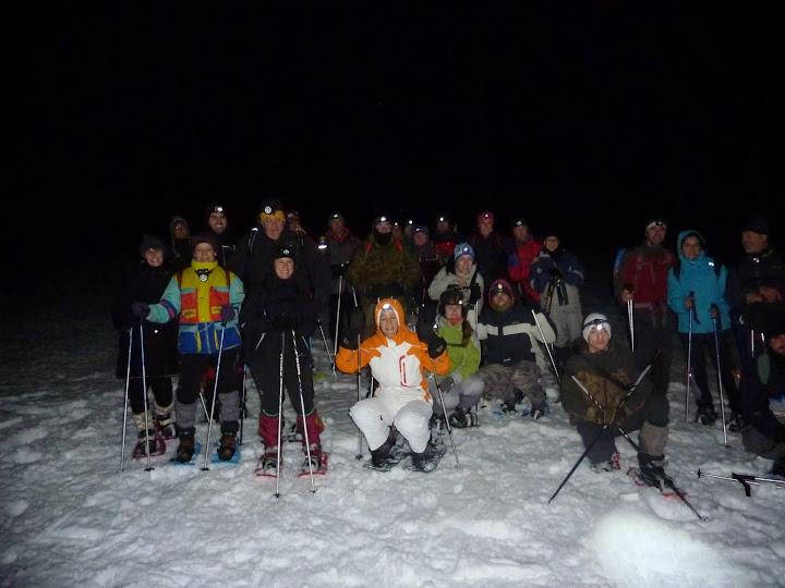Grupo en la raquetada nocturna