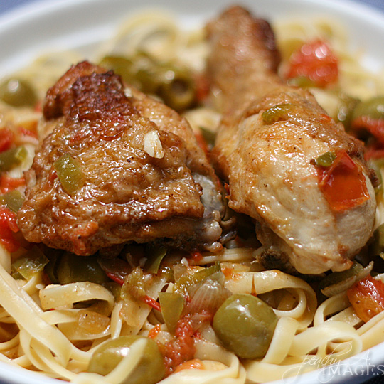 Chicken with Olives on Linguine