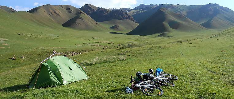 Unser Zeltplatz in einem kleinen Seitental des Kichi-Kara-Kudzhur-Tal; Koordinaten N 41,831712, E 75,797596