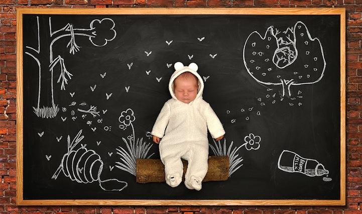 *嬰兒的奇幻黑板冒險:趁熟睡中惡搞一番! 8