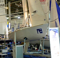 J22 one-design sailboat at German sailboat show