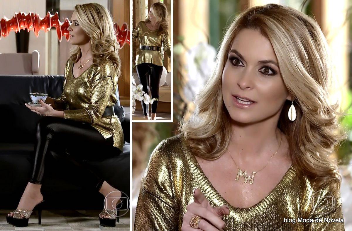 moda da novela Geração Brasil - look da Pamela com blusa dourada de tricô dia 12 de julho