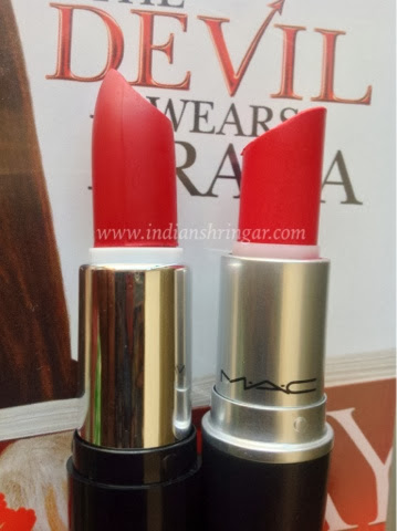 MAC Ruby Woo and dupe MUA Lip Boom Bring It