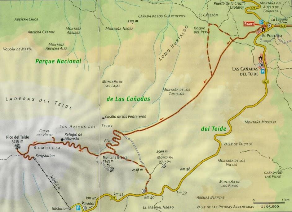 Некоторые пешие маршруты на Тенерифе.