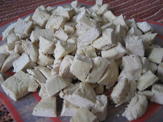 Diced cooked chicken breast.