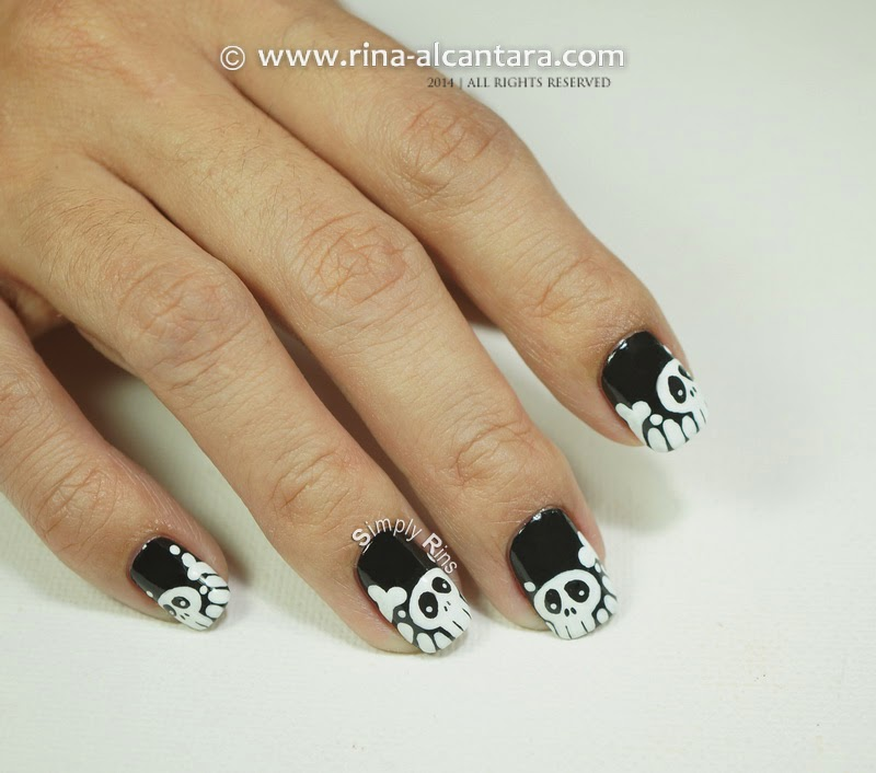 Skulls and Bones Nail Art for Halloween