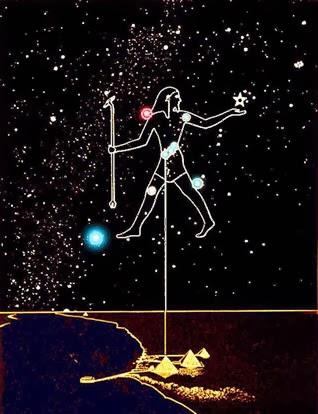 Проекция пояса Ориона на пирамиды