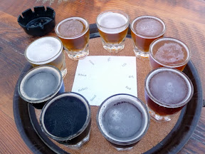 Tasting tray of beer at Coalition Brewing