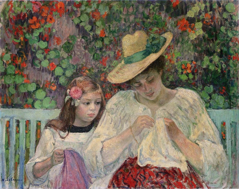 Henri Lebasque - The Sewing Lesson