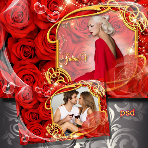 Frame for photo - Red roses, golden shine