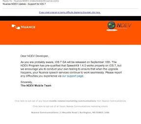 iOS7 GA Release September 10 Nuance