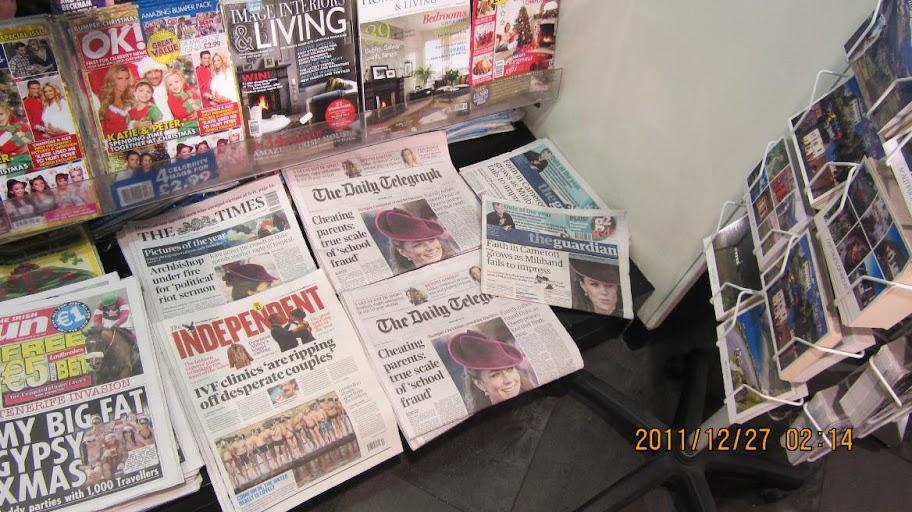 都柏林超商裡的小報在報英國的凱特王妃