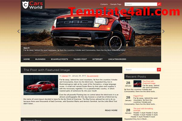 Free Cars Blog Wordpress Theme Template