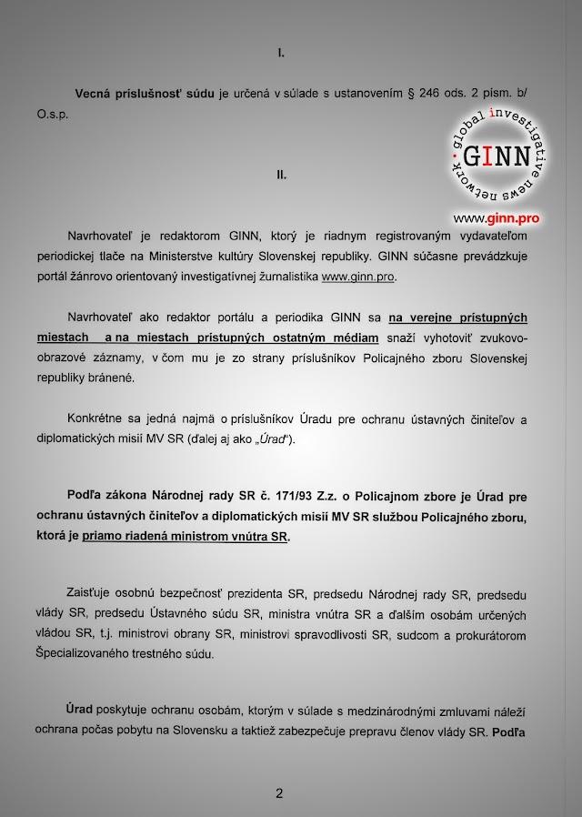 Žaloba GINN vs Robert Kaliňák a Ministerstvo vnútra, strana 2