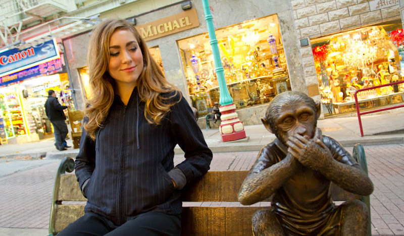 Women's Navy Exec Hoodie: Sitting with Monkey Statue