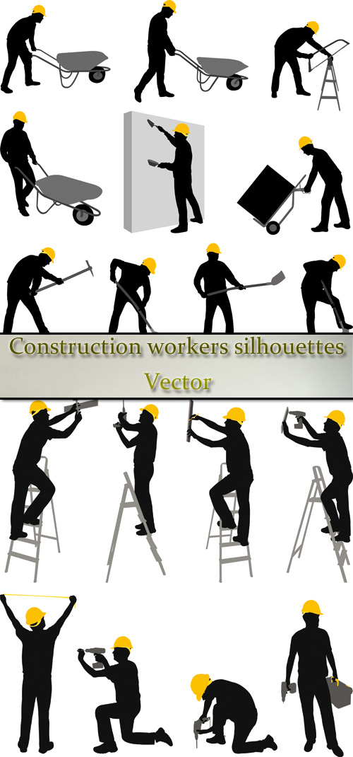 Stock: Construction workers silhouettes