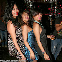 Tina, Rii and Puja during the pre-release party of Chandan Roy Sanyal's upcoming film, held in Kolkata.