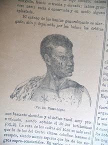 Grabado de mujer hotentote con grabados en su piel.