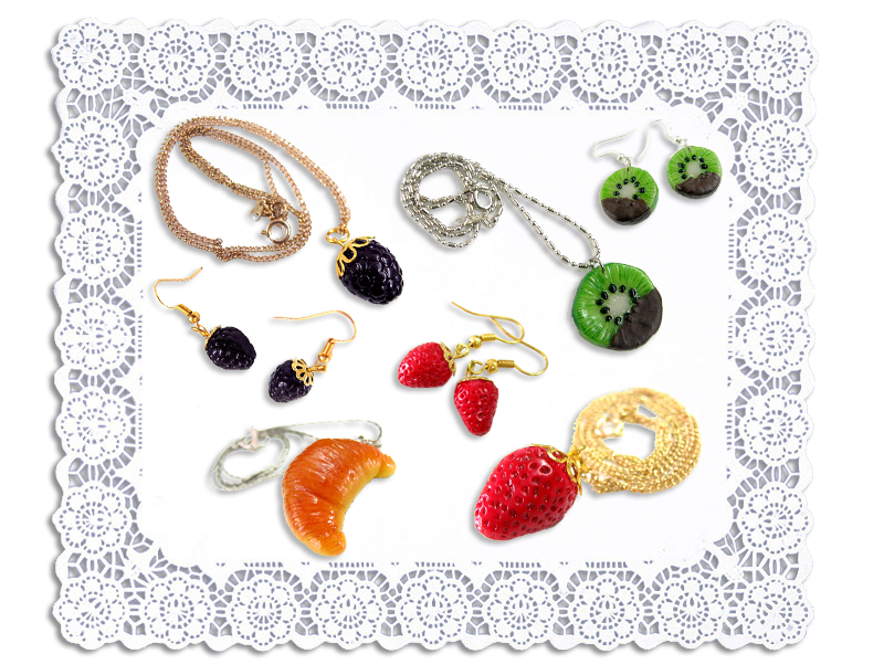 Ai Candies Strawberry earrings & necklace, Kiwi earrings & necklace, Blackberry earrings & neckalce, Croissant necklace