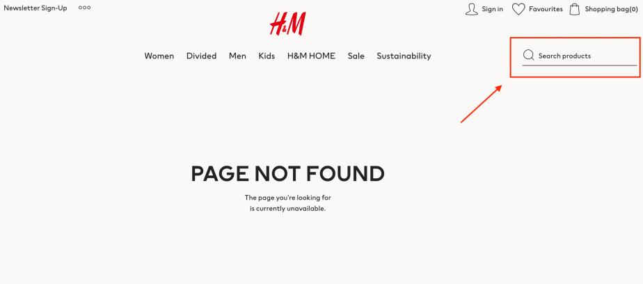 Thanh tìm kiếm 404