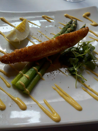 Chilled asparagus, fresh egg, smoked paprika aioli, crouton, and ...