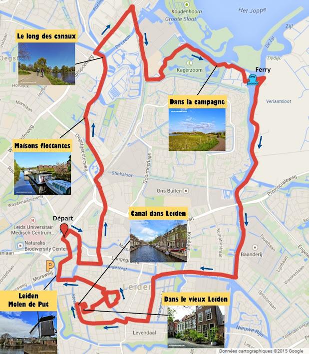 Tracé Circuit à vélo autour de Leiden (Pays-Bas) par veloiledefrance.com