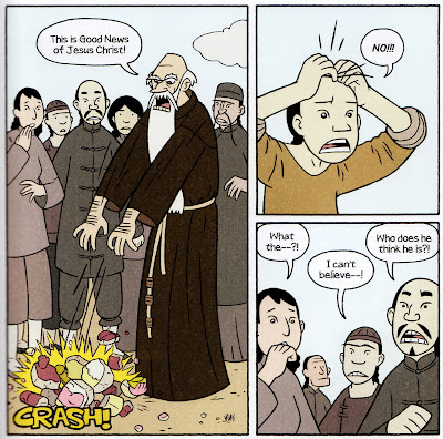 Little Bao watches a Western missionary break a statue of a Chinese God