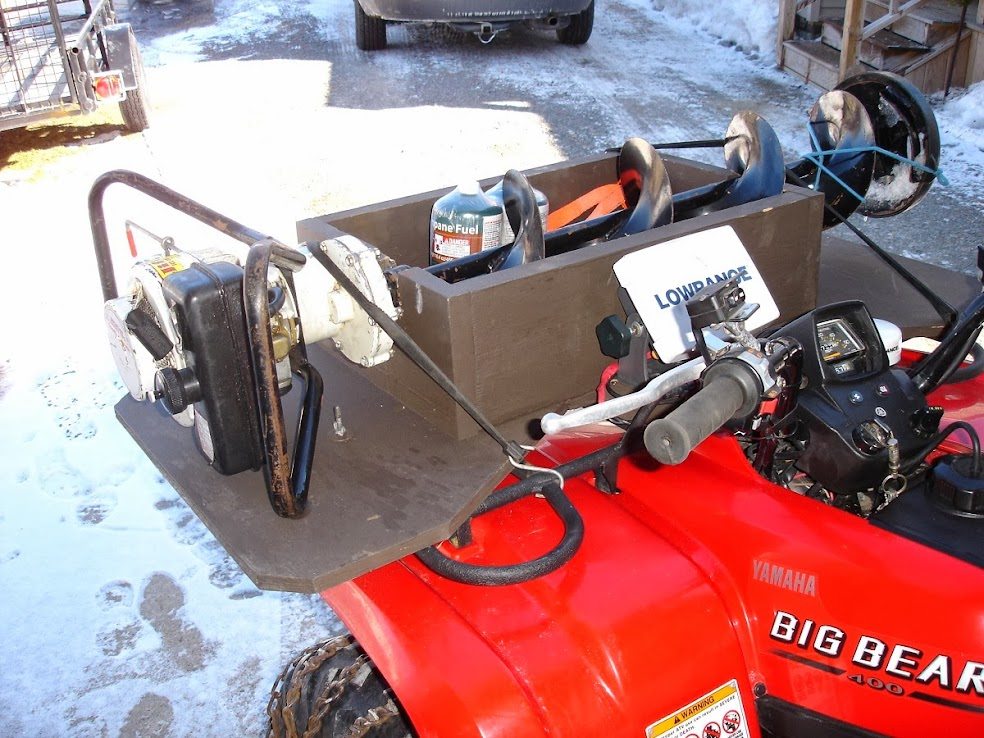 Making homemade auger atv mount for Atv ice fishing accessories