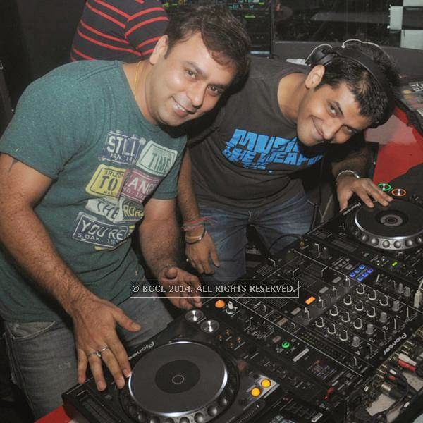 Prashant and DJ Manish during the party, held at BW club, New Friends Colony.