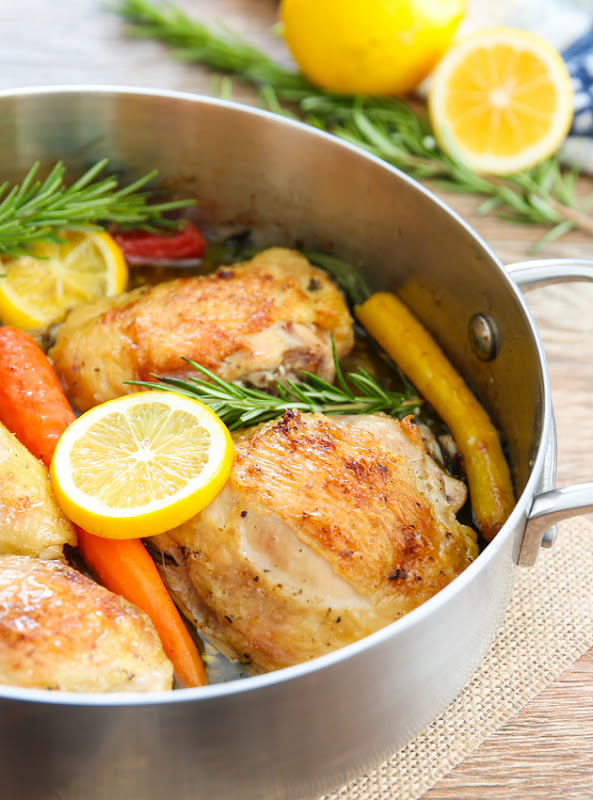 close-up photo of lemon chicken with vegetables in a pan